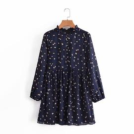 Printing Elastic Cuff Long Sleeve Dress  NSAM40561