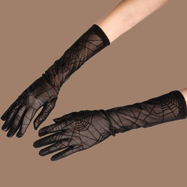 New Fashion Lace Long Black Sunscreen Split Finger Gloves NSTQ41160