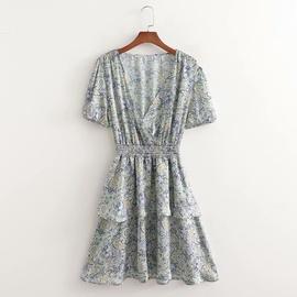 Printed Double Layer Elastic Waist Dress  NSAM40244