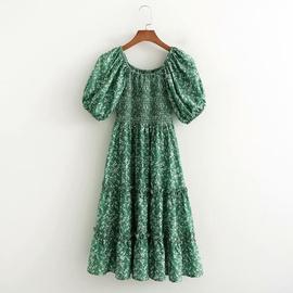 Spring Printed Elasticated Big Swing Dress  NSAM40231