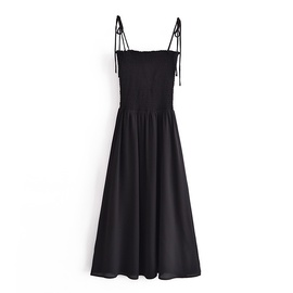 Pleated Elastic Waist Lace-up Suspender Dress  NSAM40204