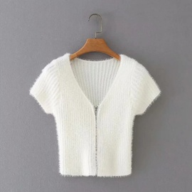 Short V-neck Knitted Short-sleeved Zipper Sweater NSAC41388