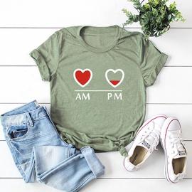 Letters Heart-shaped Short-sleeved Female T-shirt NSSN41901