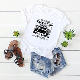 Car Cartoon Letters Printed Short-sleeved T-shirt NSSN41908