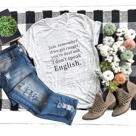 Creative Letters Printed Round Neck T-shirt  NSSN41911