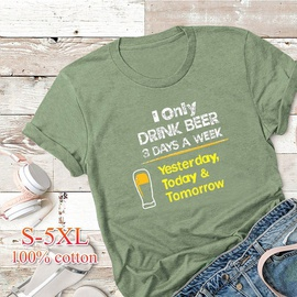 Letter Round Neck Women's Short-sleeved T-shirt   NSSN41928
