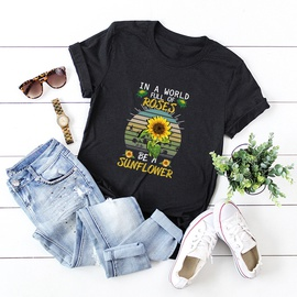Abstract Sunflower Printed Short-sleeved Top  NSSN41932