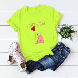 I Sloth You Letter Printing T-shirt NSSN41938