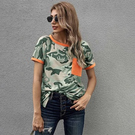 Summer Camouflage Stitching Pocket Short-sleeved Top NSSI41961