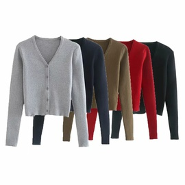 Long-sleeved Single-breasted Cardigan NSAC42078