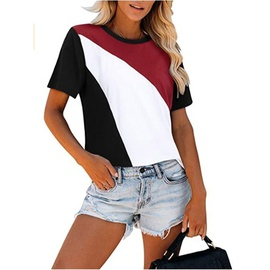 Contrast Stitching Round Neck Short-sleeved T-shirt NSLZ42243