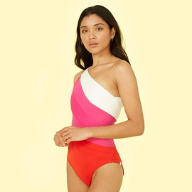 Plus Size One-piece Stitching Contrast Color Swimsuit NSHL42279