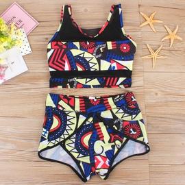 Printed Mesh Stitching Split Swimsuit  NSHL42302