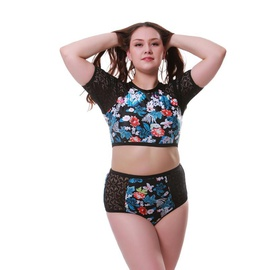 Plus Size Printed High-waist Woven Fabric Bikini  NSHL42481