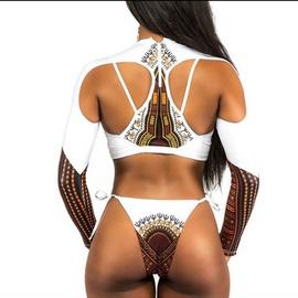 Ethnic Style Printed Long-sleeved Split Swimsuit NSHL42490