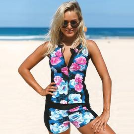 Sleeveless Slim Print Zip Bikini NSHL42899