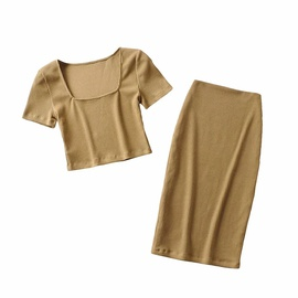 Square Neck Short-sleeved T-shirt Sexy Long Skirt Suit NSHS43102