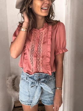 Solid Color Casual Short-sleeved Top NSSE43111