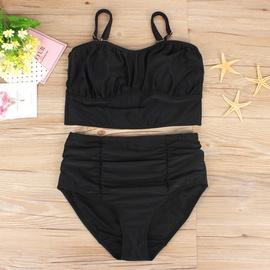Plus Size Solid Color High Waist Split Swimwear NSHL43144