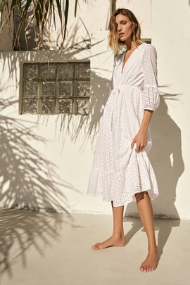 Spring Hollow Embroidery Long-sleeved Dress NSAM38386