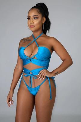 Solid Color Cross Strap Bikini  NSHL38554