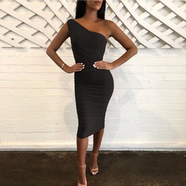 Sexy Fashion One-shoulder Pleated Hip-fit Dress NSZY38613