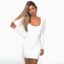 Black And White Long-sleeved Sexy Fold Dress NSZY38616
