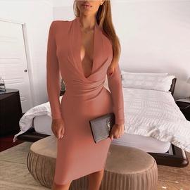 Sexy Deep V Long Sleeve Slim Dress NSZY38629