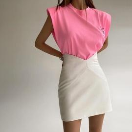High Waist Elastic Leather Skirt NSXE38667