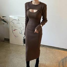 Fashion Shawl Slim Split Sling Dress NSXE38671