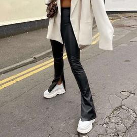 Fashion Simple Slit High Waist Leather Pants NSXE38673