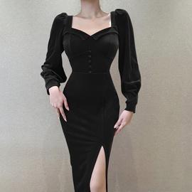 New High Waist Slit Square Neck Dress  NSXE38674