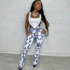 Fashion High-waist Tie-dye Pleated Denim Trousers NSXE38678