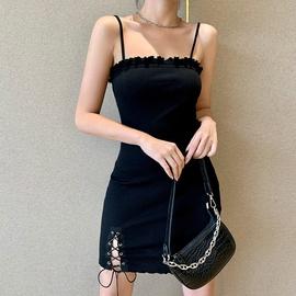 Summer New Hip Drawstring A-line Sling Dress  NSXE38739