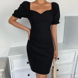 Solid Color V-neck Puff Sleeve Sexy Tight-fitting Dress NSXE38780