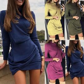 Long Sleeve High Neck Slim Dress  NSCZ38805