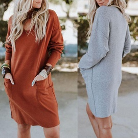 Round Neck Long Sleeve Loose Solid Color Dress NSCZ38812