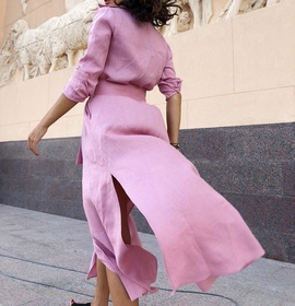 Lapel Mid-length Loose Long Sleeve Dress NSCZ38824