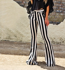 Black And White Striped Micro-length Pants  NSCZ38829