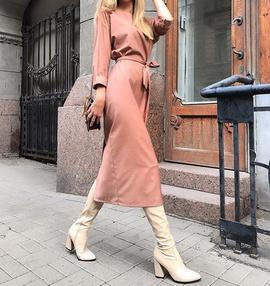 Long-sleeved V-neck Single-breasted Slim Dress NSCZ38832
