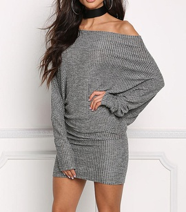 New One-neck Bat Long-sleeved Knitted Solid Color Dress NSCZ38833