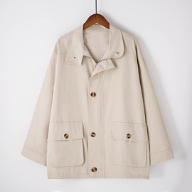 Solid Color Long-sleeved Button Double-pocket Jacket NSGE38857