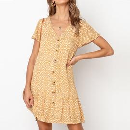 V-neck Casual Button Short Sleeve Chiffon Dress NSGE38866