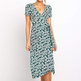 V-neck Short-sleeved Printed High-waist Lace-up Chiffon Dress NSGE38873