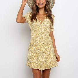 Vacation Style Printed Chiffon V-neck Short-sleeved Dress NSGE38876