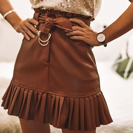 PU Leather Solid Color Belt Pleated Skirt NSGE38880