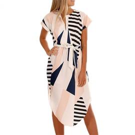 Sexy V-neck Square Print Mid-length Short-sleeved Dress NSGE38886