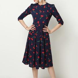 Casual Cherry Print Long-sleeved Chiffon Dress NSGE38891