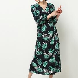 Autumn Casual Leaf Printing Long-sleeved Chiffon Shirt NSGE38892