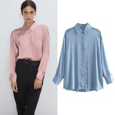 Casual Loose Solid Color Satin Shirt NSGE38898